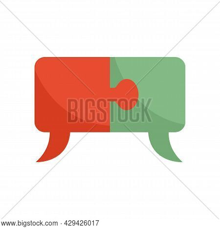 Mission Puzzle Chat Icon. Flat Illustration Of Mission Puzzle Chat Vector Icon Isolated On White Bac