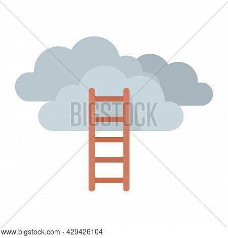 Mission Ladder Cloud Icon. Flat Illustration Of Mission Ladder Cloud Vector Icon Isolated On White B