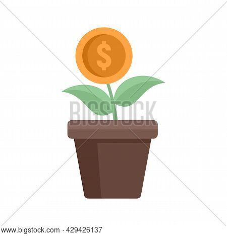 Mission Money Flower Pot Icon. Flat Illustration Of Mission Money Flower Pot Vector Icon Isolated On