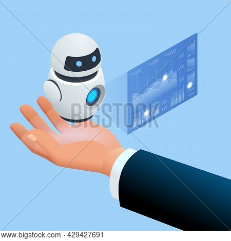 Isometric Robot Analyzes The Database. Artificial Intelligence Working For Big Data Analysis. Data A