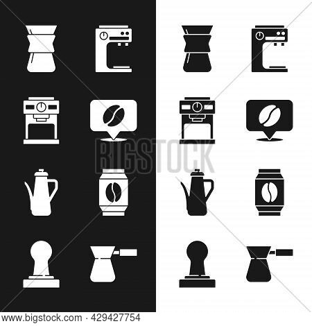 Set Location With Coffee Bean, Coffee Machine, Pour Over Maker, Teapot, Bag Beans, Turk And Tamper I