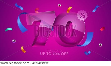 70 Percent Off. Discount Creative Composition. 3d Mega Sale Symbol With Decorative Objects. Sale Ban