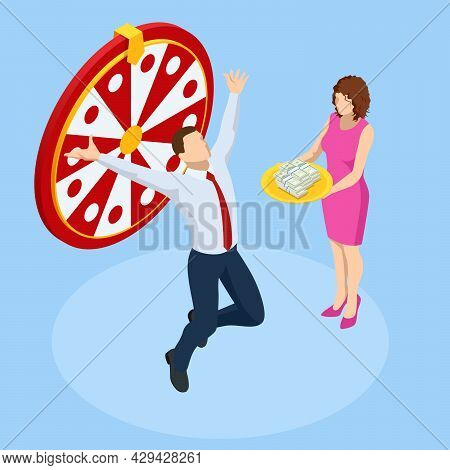 Isometric Win Lottery Prize, Fortune Winners Concept. Wealthy Businessman. Gambling, Casino Chance T