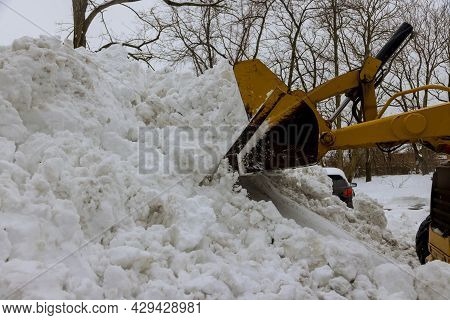 Tractor Clears The Way Clearing The Road From Snow