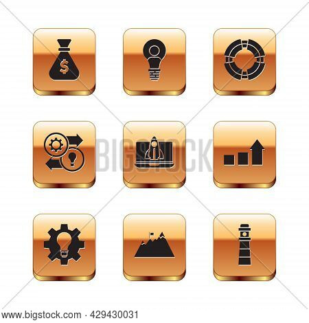 Set Money Bag, Light Bulb And Gear, Mountains With Flag, Startup Project Concept, Human Resources, B