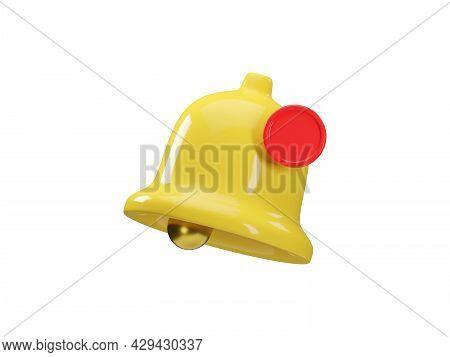 3d Render Icon Of Yellow Notification Bell Isolated On White Background. Social Media Notice Event R