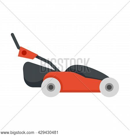 Grass Lawn Mower Icon. Flat Illustration Of Grass Lawn Mower Vector Icon Isolated On White Backgroun