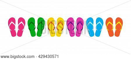 Flip Flip Vector Icon, Summer Beach Slippers, Sea Sandal Set, Cartoon Footwears. Colorful Illustrati
