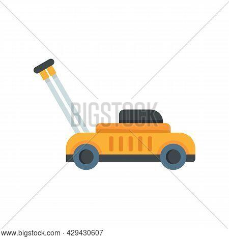 Gasoline Lawn Mower Icon. Flat Illustration Of Gasoline Lawn Mower Vector Icon Isolated On White Bac