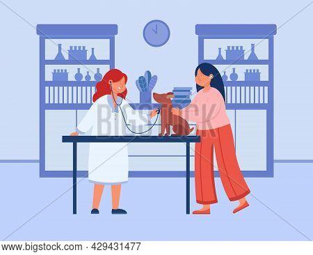 Pet Examination By Smiling Veterinarian In Clinic Interior. Flat Vector Illustration. Female Cartoon