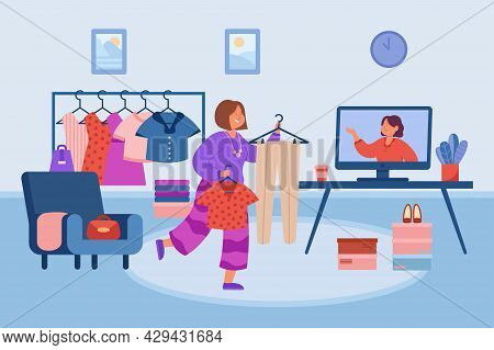 Woman Checking Her Wardrobe In Front Of Computer. Flat Vector Illustration. Cartoon Girl Choosing Ou