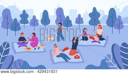 Happy People Spending Time On Picnic Outdoors. Flat Vector Illustration. Cartoon Families Getting Re