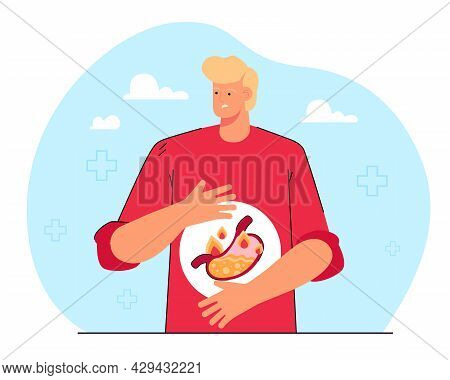 Cartoon Man Suffering From Heartburn. Person With Bloating, Stomach Pain, Gastric Disease, Acid Refl