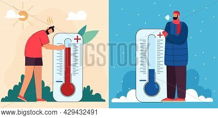 Sweaty Man And Person In Warm Outdoor Clothes With Thermometers. Extreme Heat And Freeze, High And L