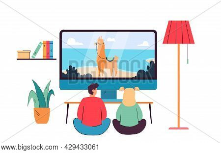 Back View Of Kids Watching Cartoon Flat Vector Illustration. Children Sitting On Floor At Home. Boy