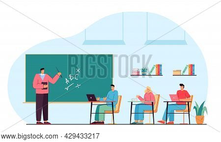 Male Teacher And Happy Students Studying In Classroom. College Lesson Flat Vector Illustration. Youn
