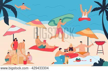 Men And Women Enjoying Summer Vacation On Beach. People Swimming In Ocean, Walking Along Coast, Sitt