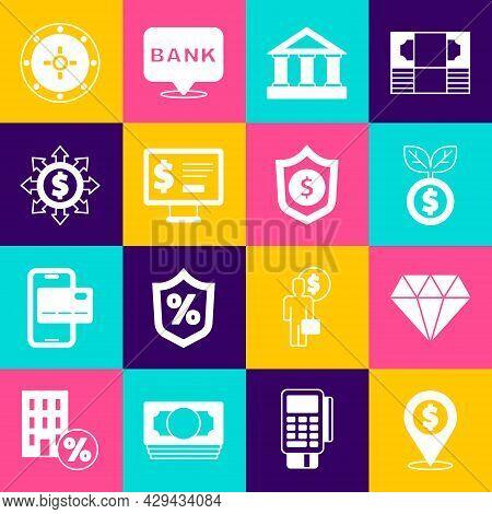 Set Cash Location, Diamond, Dollar Plant, Bank Building, Monitor With Dollar, Dollar, Share, Network