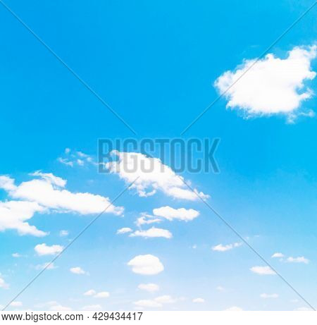 Light White Clouds In The Blue Sky In Morning Summer Time And Copy Space