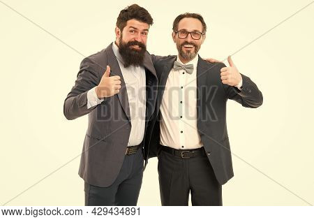 Men Bearded Wear Formal Suits. Well Groomed Business Men. Successful Partnership. Achieve Success. M
