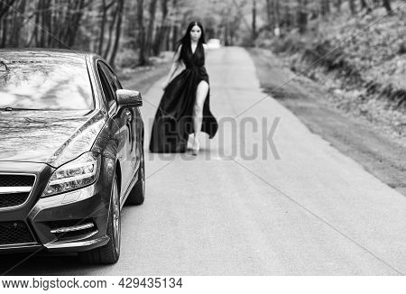 Travel Is To Discover. Car Selective Focus. Auto And Woman Traveler. Road Travel. Leisure And Pleasu