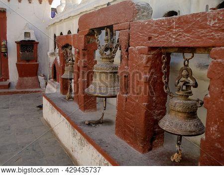 Prayer Bells In Boudhanath Stupa Kathmandu City Nepal