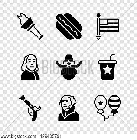 Set Torch Flame, Hotdog Sandwich, American Flag, Vintage Pistols, George Washington, Balloons, Benja
