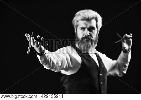 Keep Yourself Looking Groomed All Year Round. Hipster Barber. Man With Beard And Moustache. Mature M