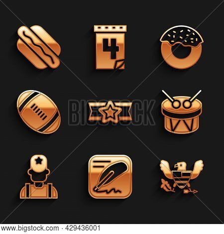 Set Star American Military, Declaration Of Independence, Eagle, Drum And Drum Sticks, Sheriff Cowboy