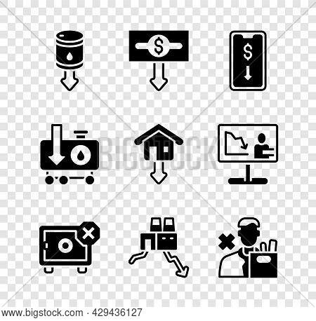 Set Drop In Crude Oil Price, Dollar Rate Decrease, Mobile Stock Trading, Safe, Shutdown Of Factory,