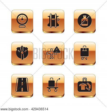 Set Clock, Airport Runway, Trolley Baggage, Warning Aircraft, Plane Propeller, No Alcohol, Suitcase