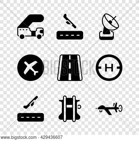 Set Passenger Ladder, Plane Landing, Radar, Takeoff, Parachute, Uav Drone, And Airport Runway Icon.