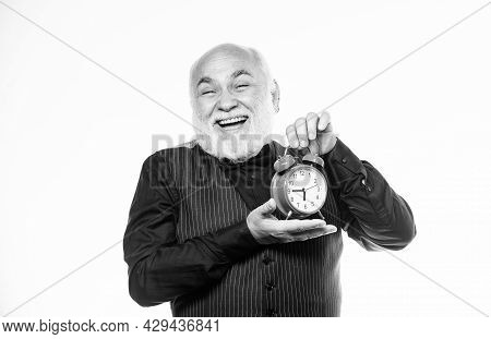 Senior Timekeeper. Counting Time. Time Does Not Spare Anyone. Time And Age Concept. Bearded Man Cloc