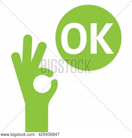 Ok Hand Icon. Ok Sign Vector Illustration