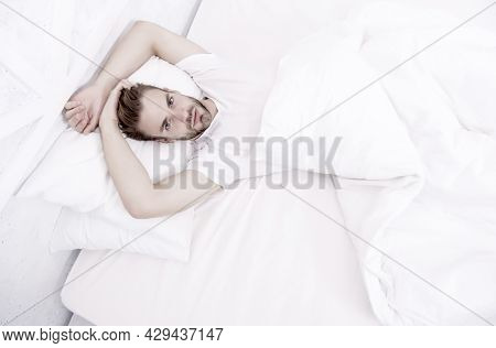 Sexy Man In Bed. Early Morning Wakeup. Lazy Sunday With Morning Sex. Man Lying White Bedroom. Time T