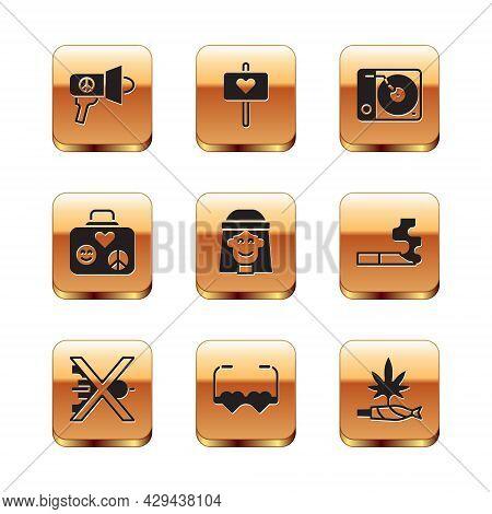 Set Megaphone, No War, Heart Shaped Love Glasses, Hippie Girl, Suitcase For Travel, Vinyl Player, Ma