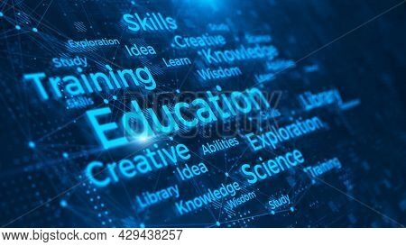 Education sign and word cloud on abstract technology background. Online education concept. 3d rendering