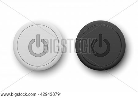 Vector Realistic White And Blackplastic Knob Set Closeup Isolated On White. Circle Button Icon, Desi