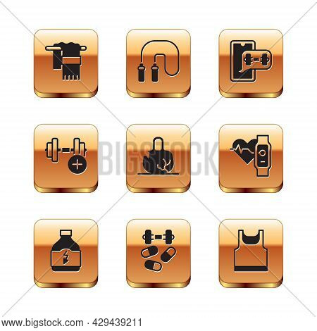 Set Towel On Hanger, Sports Nutrition, Doping With Dumbbell, Broken Weight, Dumbbell, Fitness App, S