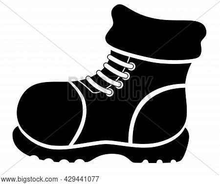 Winter Warm Boot - Vector Silhouette For Logo Or Pictogram. Boot - Shoes With Thick Soles With Laces
