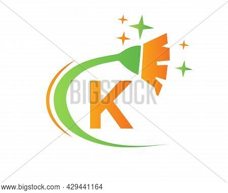 Cleaning Logo With K Letter Concept. House Clean And Broom Logo.k Letter Maid Logo Design
