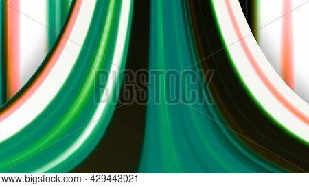 Curved Strip With Colored Stripes. Motion. Animation With Abstract Slide Made Of Multicolored Lines.
