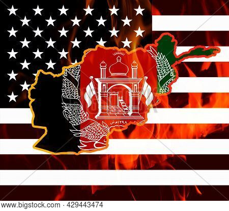 Afghanistan Map And Flag Outline On Fire Against The Background Of The Flag Of The United States Of