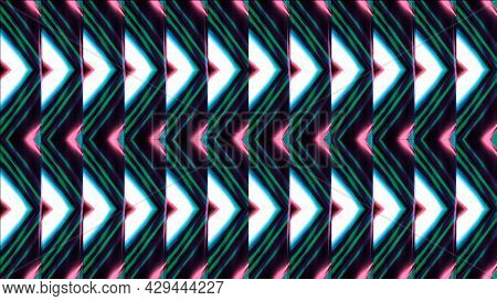 Neon Shimmering Triangles In Pattern. Modern. Hypnotic Repeating Pattern Of Triangular Lines Flicker