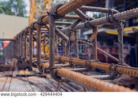 Rebar Texture. Reinforcement Steel Rod. Rusty Rebar For Concrete Pouring. Steel Reinforcement Bars.