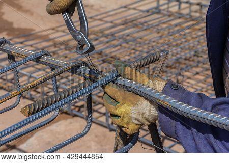 Construction Rebar Steel Work Reinforcement. Closeup Of Steel Rebars. Reinforcement Steel Rod.