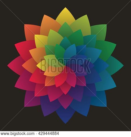 Colorful Flower Patterns. Rainbow Mandala Shape. Gradient Color Theory. Design Elements For Publicat