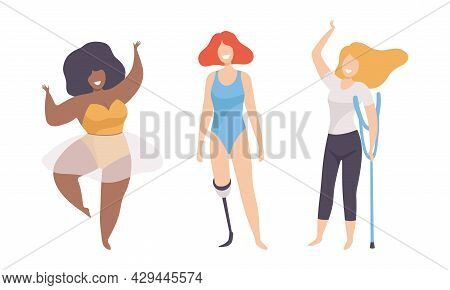 Female With Crutch And Artificial Limb Having Different Figure Type And Height As Body Positive And