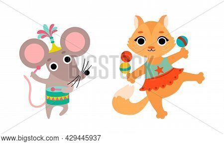 Circus Mouse And Cat Animal Performing Trick Playing Drum And Juggling Balls Vector Set