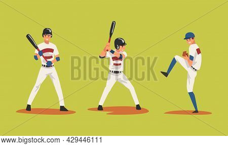 Baseball Player On Green Sport Field Playing Bat-and-ball Game Vector Set